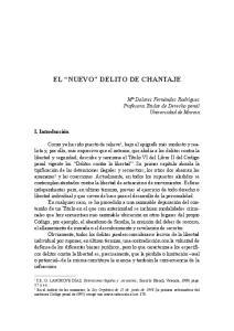 EL NUEVO DELITO DE CHANTAJE