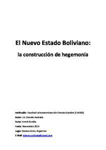 El Nuevo Estado Boliviano: