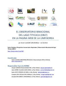 EL OBSERVATORIO BINACIONAL DEL LAGO TITICACA (OBLT) EN LA PAGINA WEB DE LA UMR BOREA