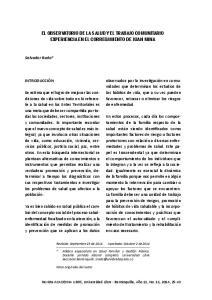EL OBSERVATORIO DE LA SALUD Y EL TRABAJO COMUNITARIO EXPERIENCIA EN EL CORREGIMIENTO DE JUAN MINA