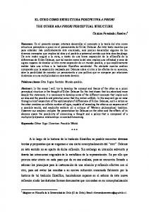 EL OTRO COMO ESTRUCTURA PERCPETIVA A PRIORI THE OTHER AS A PRIORI PERCEPTUAL STRUCTURE