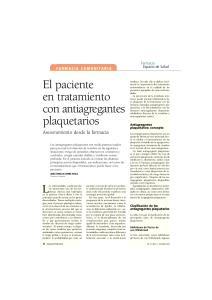 El paciente en tratamiento con antiagregantes plaquetarios Asesoramiento desde la farmacia