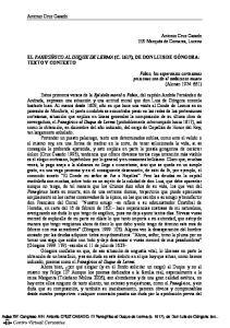 EL PANEGÍRICO AL DUQUE DE LERMA (C. 1617), DE DON LUIS DE GÓNGORA: TEXTO Y CONTEXTO