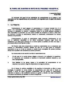 EL PAPEL DEL MANTENIMIENTO EN EL PROCESO INDUSTRIAL