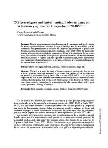 El paradigma ambiental: continuidades en tiempos ordinarios y epidemias. Campeche,