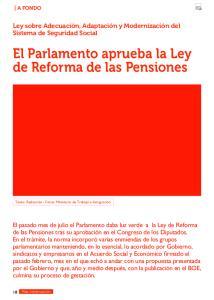 El Parlamento aprueba la Ley de Reforma de las Pensiones