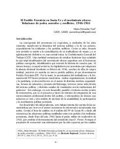 El Partido Peronista en Santa Fe y el movimiento obrero. Relaciones de poder, acuerdos y conflictos,