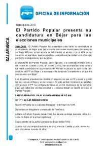 El Partido Popular presenta su candidatura en Béjar para las elecciones municipales