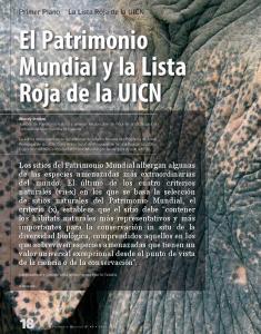 El Patrimonio Mundial y la Lista Roja de la UICN