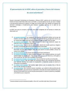 El pensamiento de la ACHC sobre el presente y futuro del sistema de salud colombiano 1
