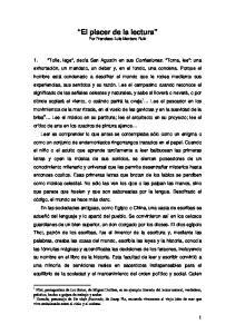 El placer de la lectura Por Francisco Luis Montero Ruiz