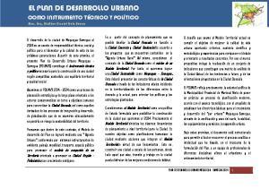 EL PLAN DE DESARROLLO URBANO