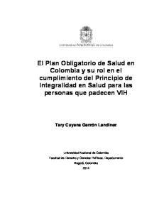 El Plan Obligatorio de Salud en Colombia y su rol en el cumplimiento del Principio de Integralidad en Salud para las personas que padecen VIH
