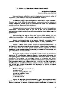 EL PODER TRANSFORMADOR DE LAS PALABRAS