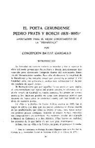 EL POETA GERUNDENSE PEDRÓ PRATS Y BOSCH ( )