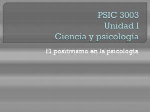 El positivismo en la psicología