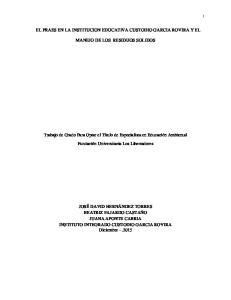 EL PRAES EN LA INSTITUCION EDUCATIVA CUSTODIO GARCIA ROVIRA Y EL MANEJO DE LOS RESIDUOS SOLIDOS