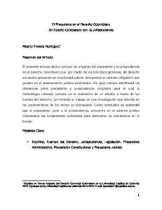 El Precedente en el Derecho Colombiano Un Estudio Comparado con la Jurisprudencia