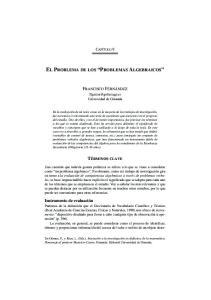 EL PROBLEMA DE LOS PROBLEMAS ALGEBRAICOS