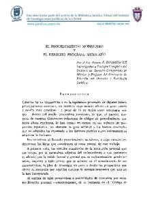 EL PROCEDIMIENTO MONITORIO Y EL DERECHO PROCESAL MEXICANO