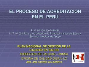 EL PROCESO DE ACREDITACION EN EL PERU