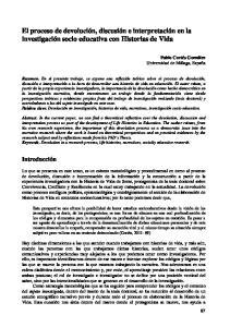 El proceso de devolución, discusión e interpretación en la investigación socio educativa con Historias de Vida