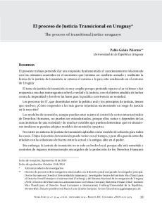 El proceso de Justicia Transicional en Uruguay*