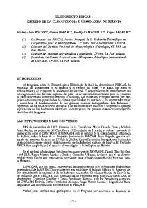 EL PROYECTO PHICAB: ESTUDIO DE LA CLIMATOLOGíA E HIDROLOGIA DE BOLIVIA