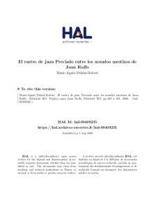 El rastro de juan Preciado entre los mundos mestizos de Juan Rulfo