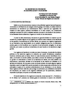 EL REGISTRO DE COMERCIO SU SIGNIFICACION Y FUNCIONES