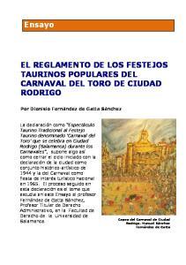 EL REGLAMENTO DE LOS FESTEJOS TAURINOS POPULARES DEL CARNAVAL DEL TORO DE CIUDAD RODRIGO