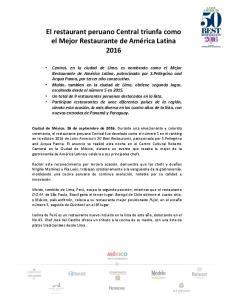 El restaurant peruano Central triunfa como el Mejor Restaurante de América Latina 2016