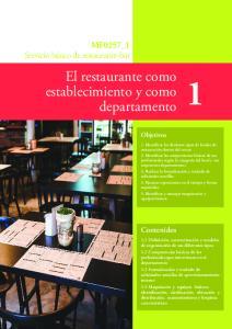 El restaurante como establecimiento y como departamento