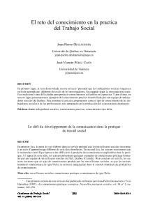 El reto del conocimiento en la practica del Trabajo Social