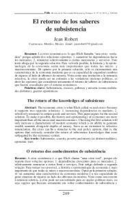 El retorno de los saberes de subsistencia
