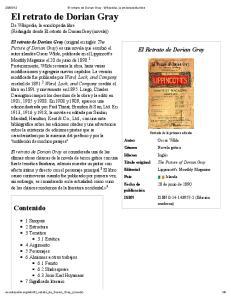 El retrato de Dorian Gray De Wikipedia, la enciclopedia libre (Redirigido desde El retrato de Dorian Gray (novela))