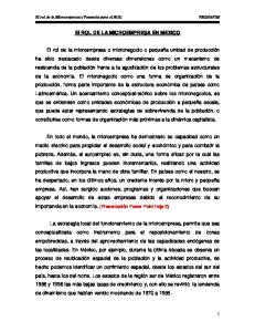 El ROL DE LA MICROEMPRESA EN MEXICO