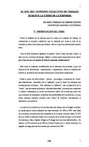 EL ROL DEL CONVENIO COLECTIVO DE TRABAJO DURANTE LA CRISIS DE LA EMPRESA
