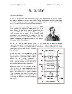 EL RUGBY. HISTORIA del RUGBY