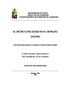 EL SECRETO RELIGIOSO EN EL DERECHO CHILENO