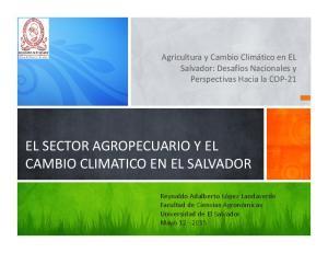 EL SECTOR AGROPECUARIO Y EL CAMBIO CLIMATICO EN EL SALVADOR