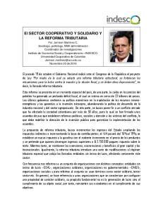 El SECTOR COOPERATIVO Y SOLIDARIO Y LA REFORMA TRIBUTARIA