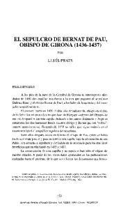 EL SEPULCRO DE BERNAT DE PAU, OBISPO DE GIRONA ( )