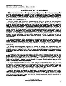 EL SIGNIFICADO DEL MAL Y SU TRASCENDENCIA