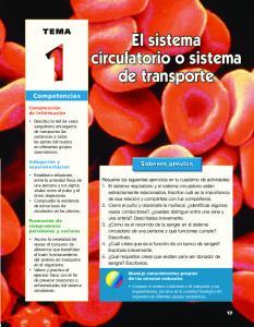 El sistema circulatorio o sistema de transporte