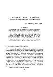 EL SISTEMA DE CONTROL CONCENTRADO Y EL CONSTITUCIONALISMO EN EL ECUADOR