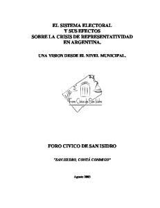 EL SISTEMA ELECTORAL Y SUS EFECTOS SOBRE LA CRISIS DE REPRESENTATIVIDAD EN ARGENTINA