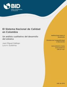 El Sistema Nacional de Calidad en Colombia