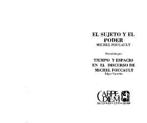 EL SUJETO Y EL PODER MICHEL FOUCAULT