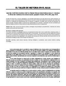EL TALLER DE HISTORIA EN EL AULA